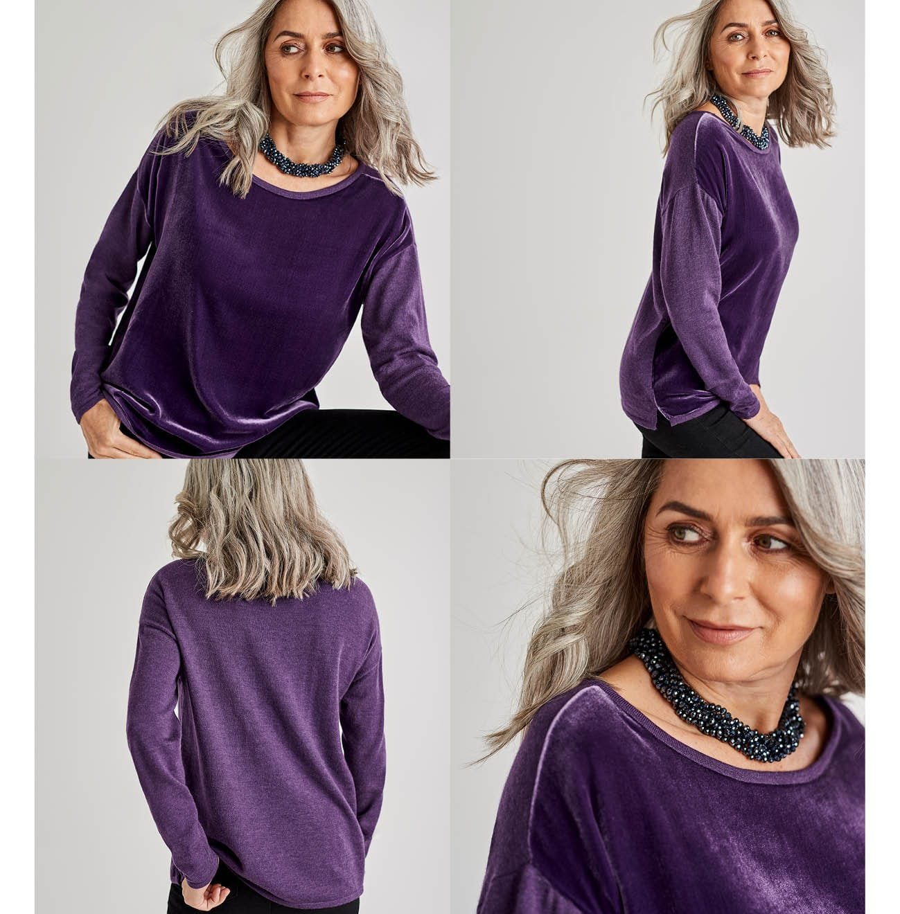 Womens Silk Blend Velvet Panel Top in Blueberry