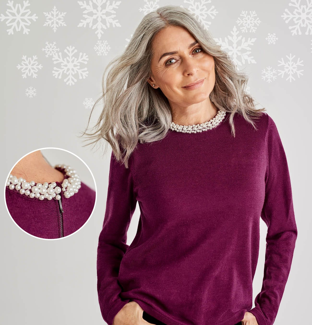 Womens Merino Pearl Neck Jumper in Cyclamen