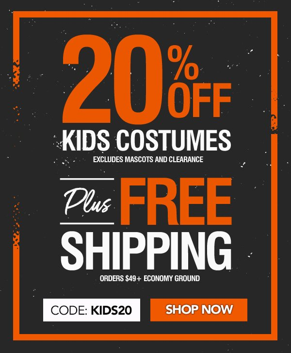 20% Off Kids Costumes + Free Shipping On Orders $49+