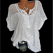 Women's Causal Loose Blouse - Solid Color...
