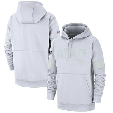 New England Patriots Nike NFL 100 2019 Sideline Platinum Therma Pullover Hoodie - White