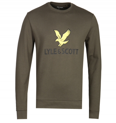 Lyle & Scott Large Logo Khaki Green Sweatshirt