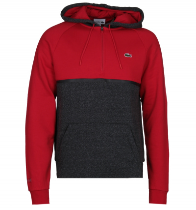 Lacoste Contrast Panel Red & Grey Pullover Hoodie