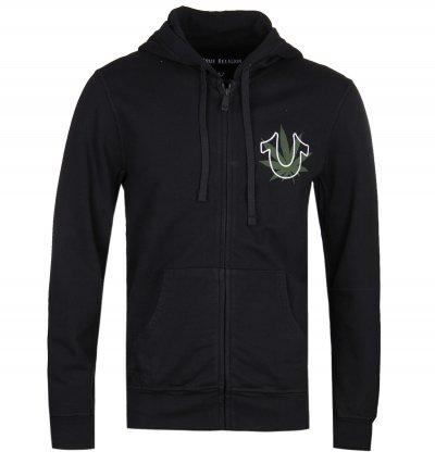 True Religion Organic Emblem Zip through Black Hoodie