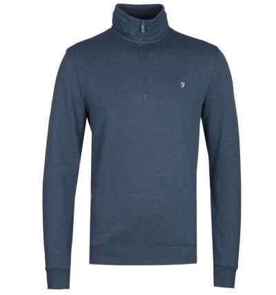 Farah Aintree Quarter Zip Blue Marl Sweatshirt