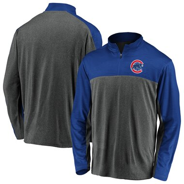 Chicago Cubs Fanatics Branded Windshirt Quarter-Zip Pullover Jacket - Charcoal/Royal