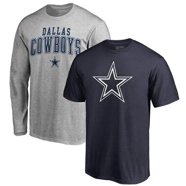 Dallas Cowboys NFL Pro Line by Fanatics Branded Square Up T-Shirt Combo Set - Navy/Gray