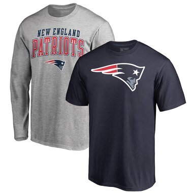 New England Patriots NFL Pro Line by Fanatics Branded Square Up T-Shirt Combo Set - Navy/Heathered Gray