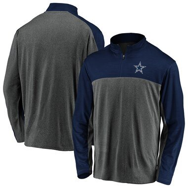 Dallas Cowboys NFL Pro Line by Fanatics Branded Colorblock Quarter-Zip Pullover Jacket - Charcoal/Navy