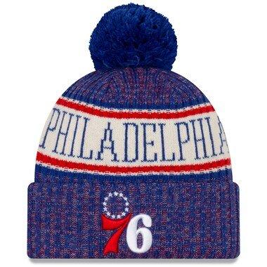Men's New Era Royal Philadelphia 76ers Sport Cuffed Knit Hat with Pom