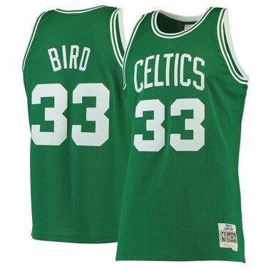 Men's Mitchell & Ness Larry Bird Kelly Green Boston Celtics 1985-86 Hardwood Classics Swingman Jersey