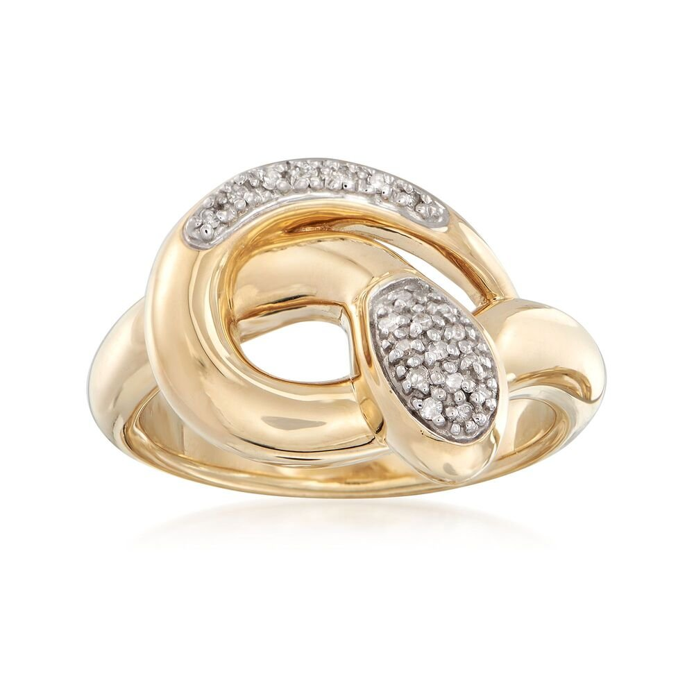 14kt Yellow Gold Snake Ring with Diamond Accents. Size 7