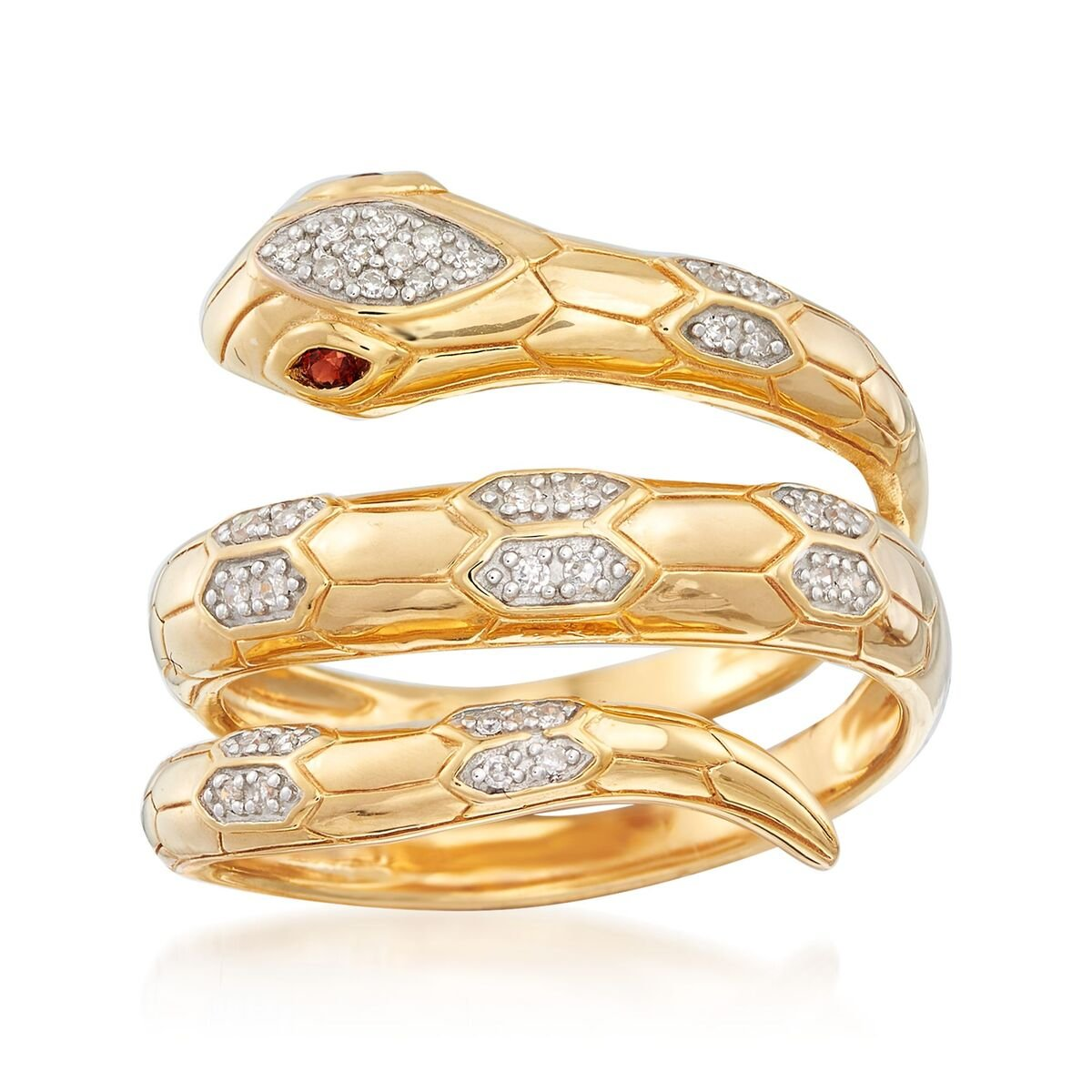 .10 ct. t.w. Diamond Snake Wrap Ring with Garnet Accents in 18kt Gold Over Sterling
