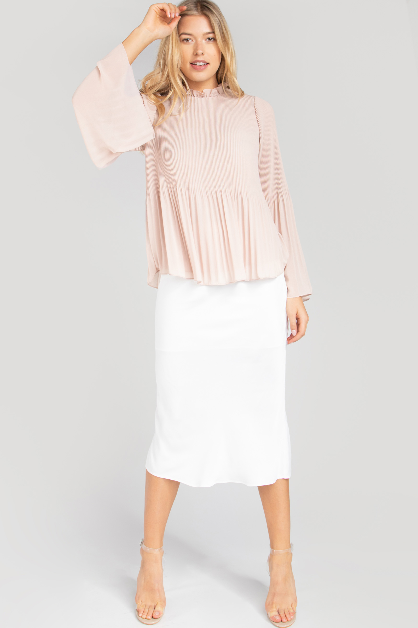 ERICA PLEATED BELL SLEEVE