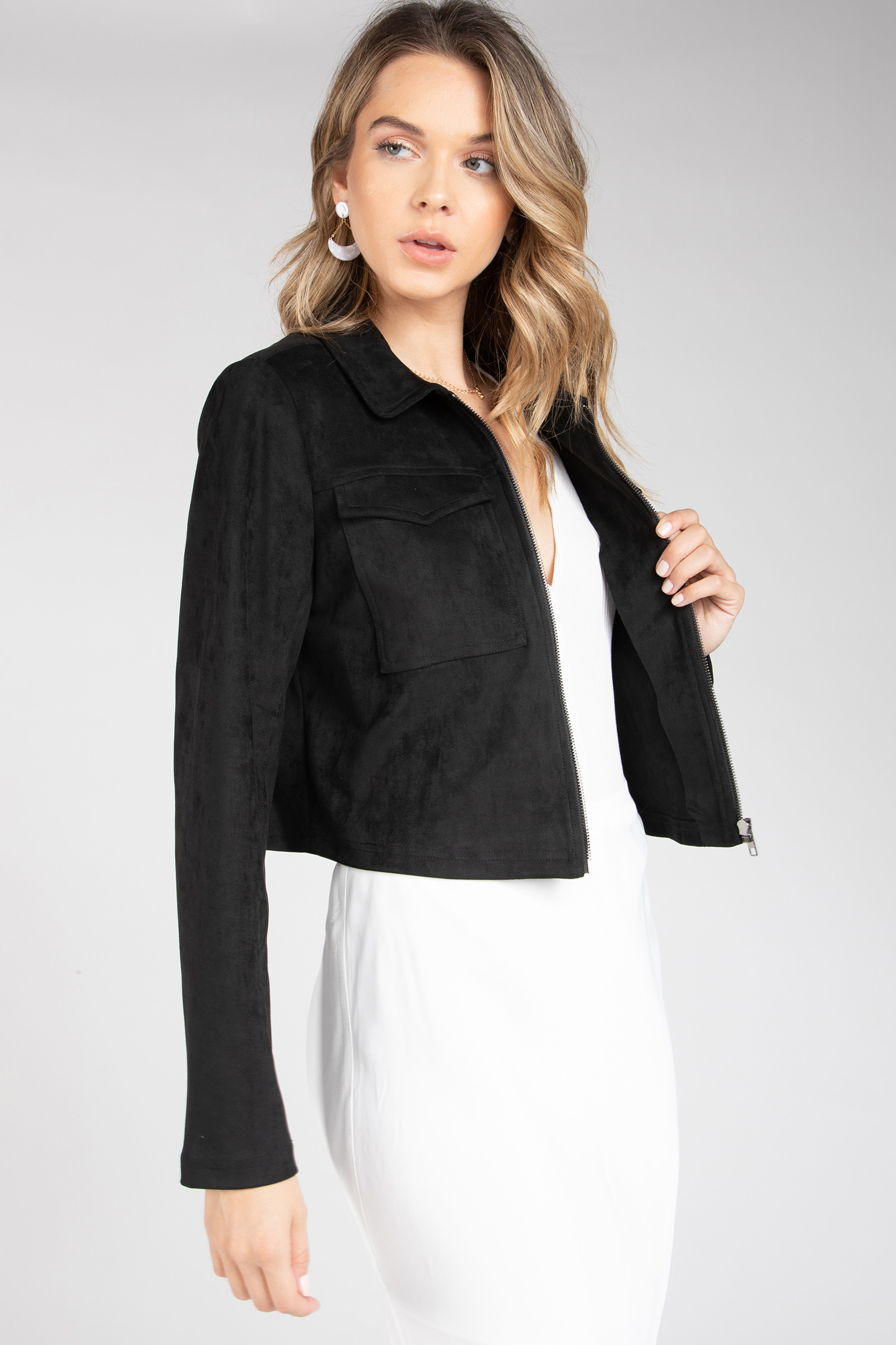 CARMEN SUEDE CROPPED JACKET