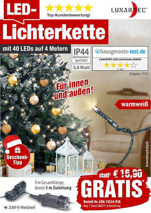 Lichterkette 48 LED´s Innen-//Außenbereich warmweiß XMAS Tannenbaum Schmuck