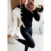 Women's Daily Blouse - Color Block Black