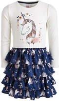 Little Girls Unicorn-Print Ruffle Dress