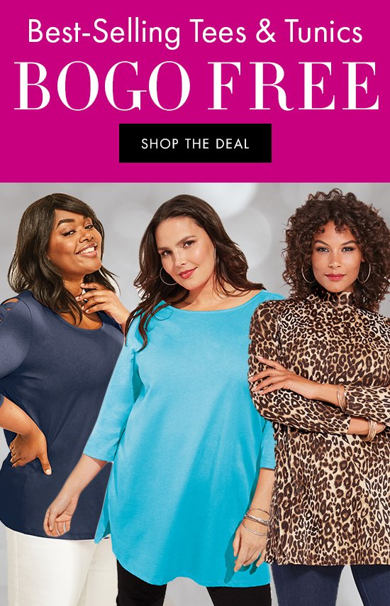 Best-Selling Tees and Tunics BOGO Free   Shop the deal