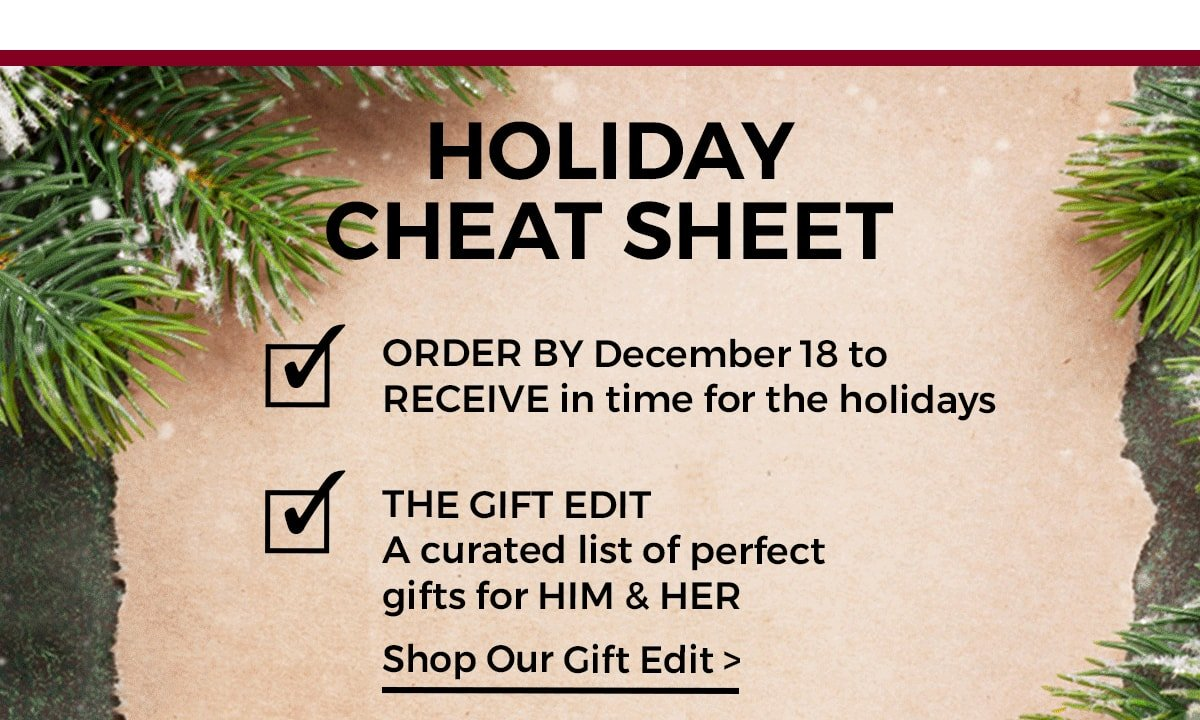 Holiday Cheat Sheet  The GIFT EDIT A CURATED LIST OF PERFECT GIFTS FOR HIM & HER SHOP OUR GIFT EDIT