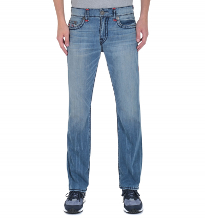 True Religion No Flap Super T Relaxed Straight Fit Light Blue Wash Denim Jeans