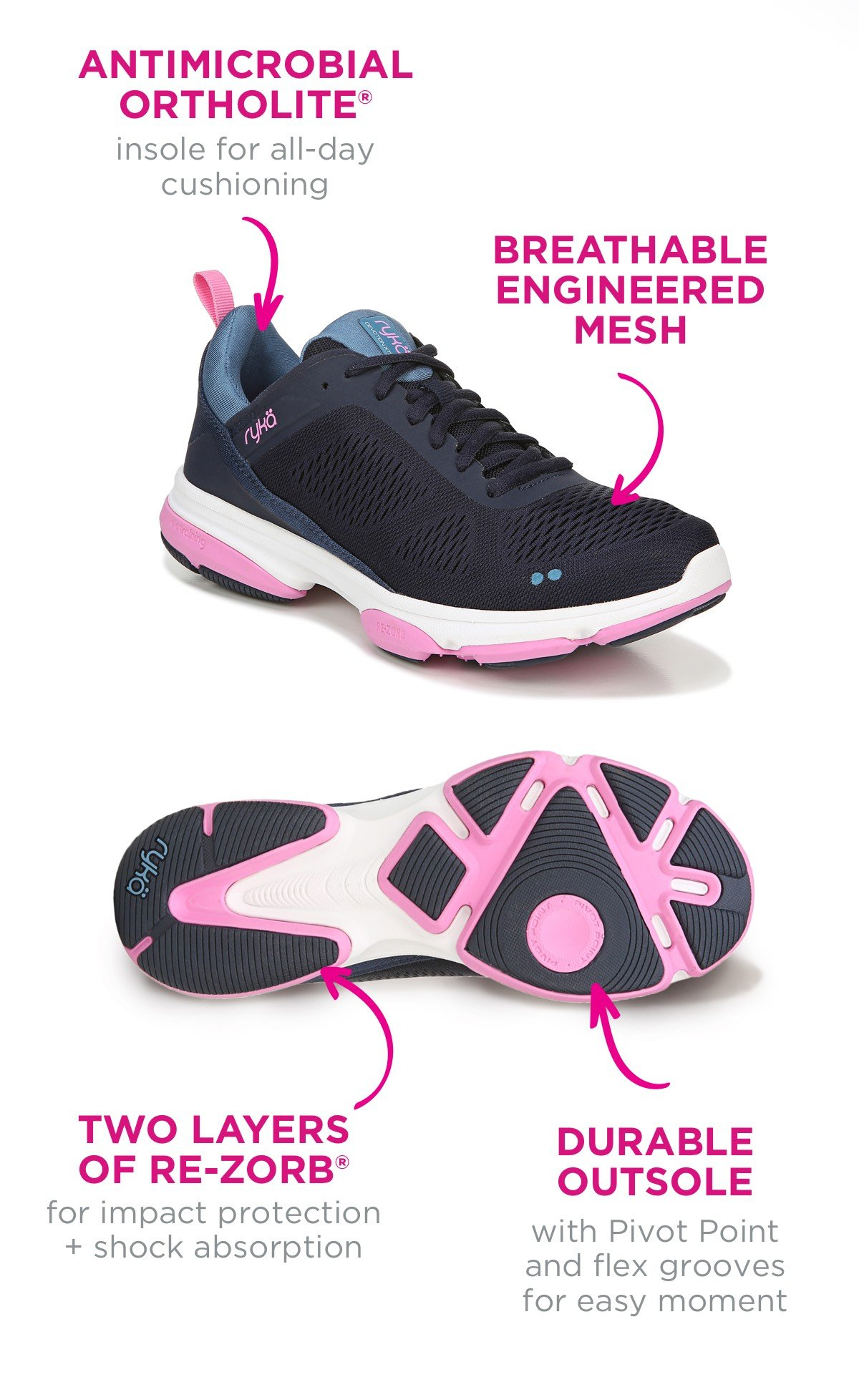 Antimicrobial ortholite, breathable mesh, two layers of re-zorb, and a durable outsole