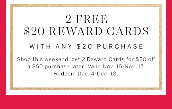 2 Free $20 Reward Cards