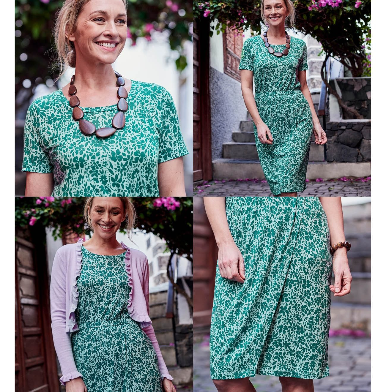 Womens Jersey Wrap Skirt Dress in Shadow Floral Green