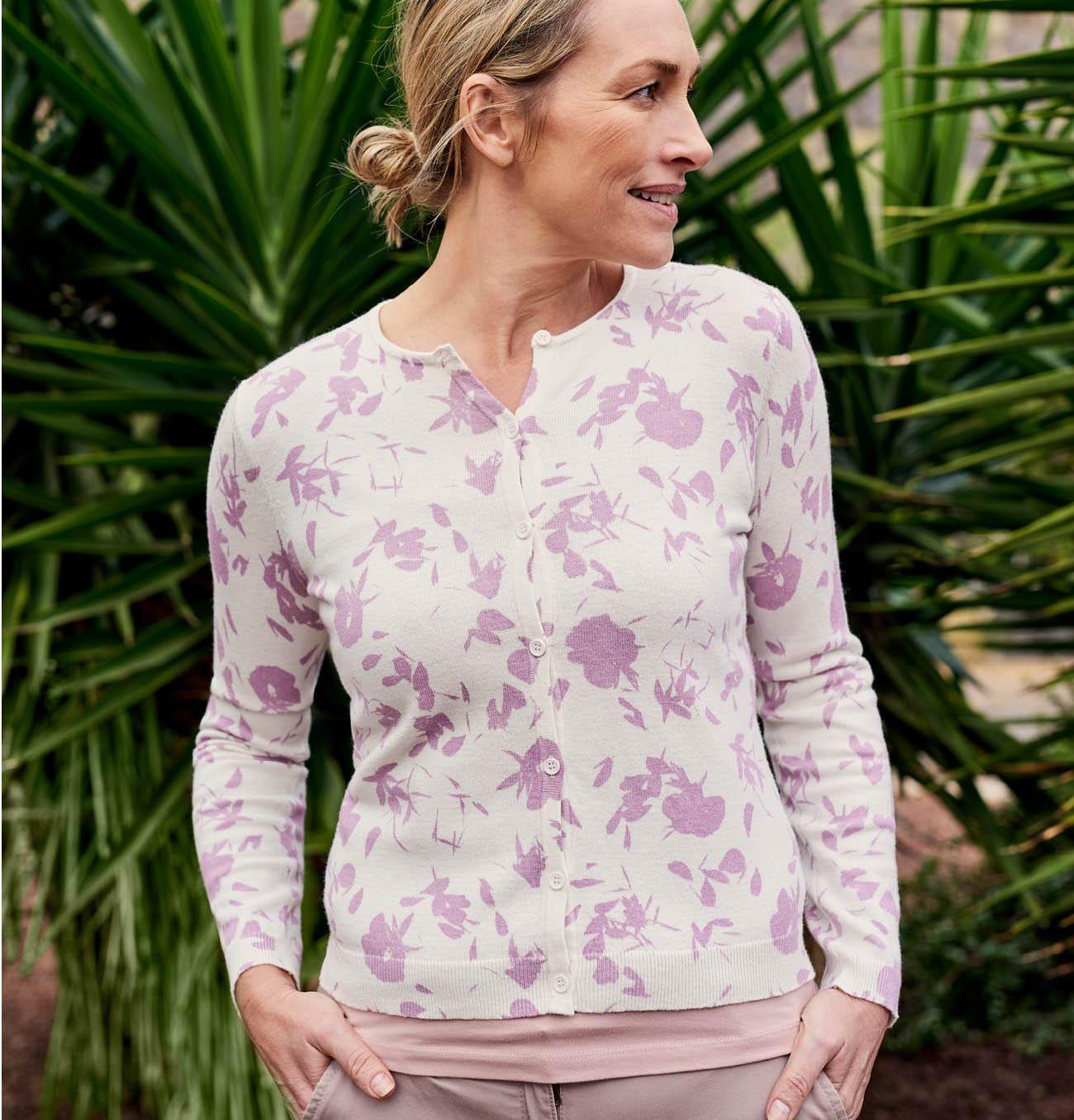 Womens Cotton Blend Print Cardigan in Cream/Thistle