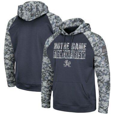 Notre Dame Fighting Irish Colosseum OHT Military Appreciation Digi Camo Raglan Pullover Hoodie - Charcoal/Camo