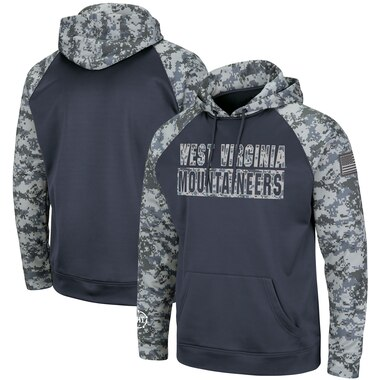 West Virginia Mountaineers Colosseum OHT Military Appreciation Digi Camo Raglan Pullover Hoodie - Charcoal/Camo