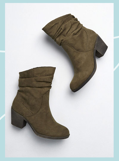 Slouchy ankle boot in moss