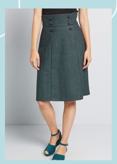 High waisted skirt in teal
