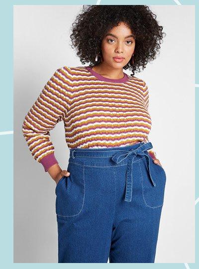 Pullover sweater in pruple stripe