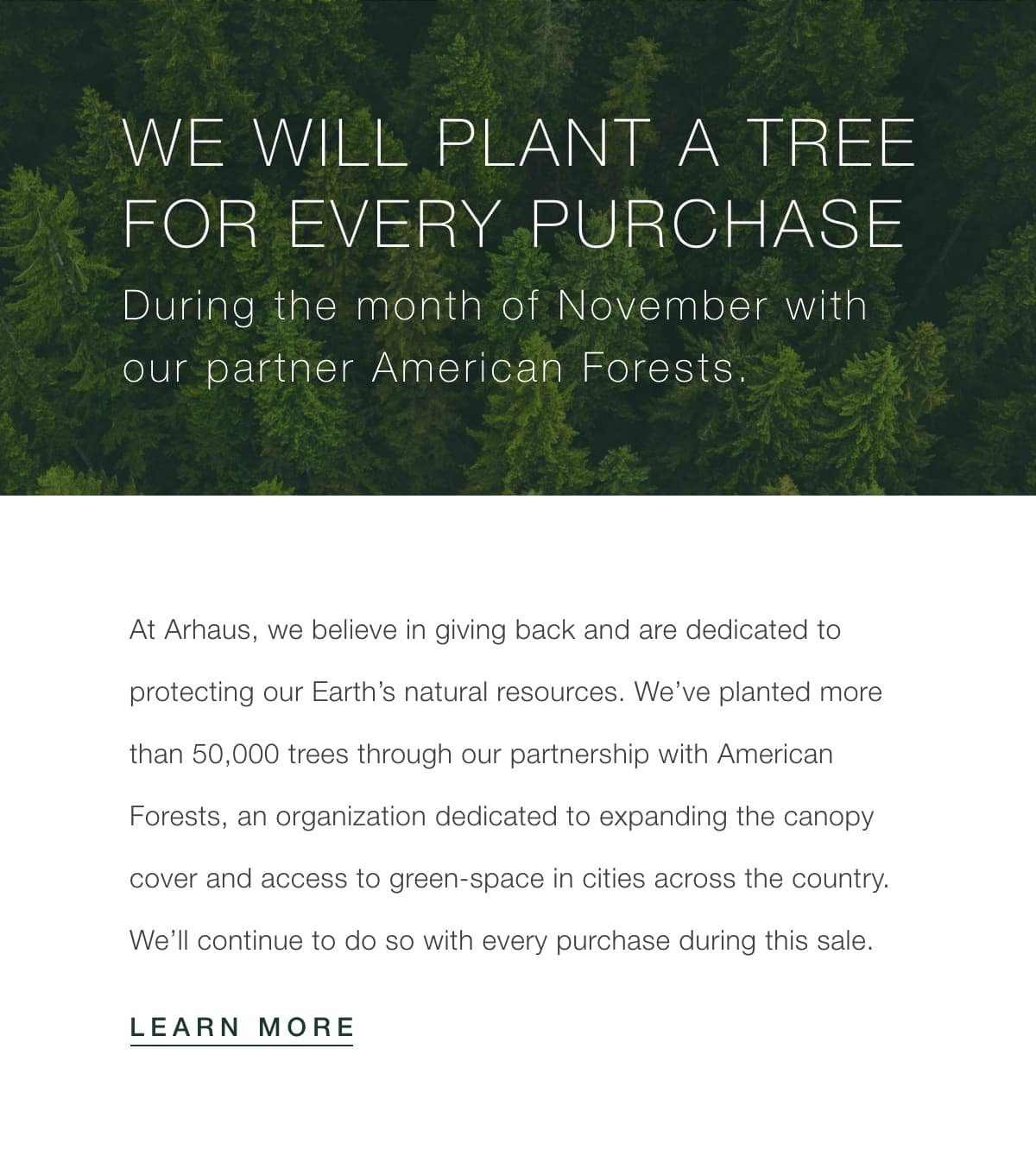 We will plant a tree for every purchase during the month of November
