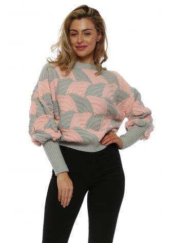 Pink & Grey Balloon Sleeve Cropped Jumper