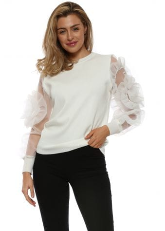 White Floral Puff Sleeve Jumper