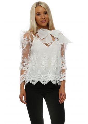 White Floral Pussy Bow Puff Blouse