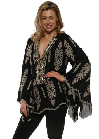 Black & Gold Embroidered Tunic Top