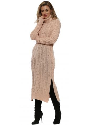 Pink Cable Knit Polo Maxi Jumper