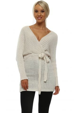 Beige Wrap Over Tunic Jumper