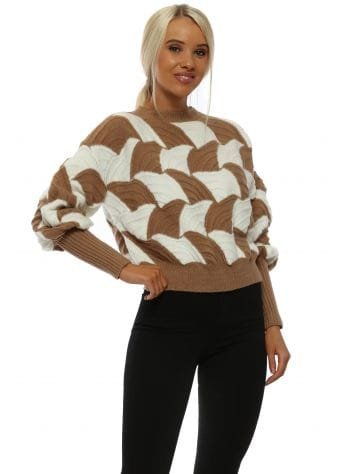 Camel & White Balloon Sleeve Cropped Jumper