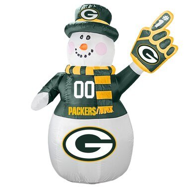 Green Bay Packers 7' Inflatable Snowman