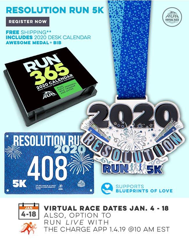 Resolution Run 5K Virtual Race - Includes 2020 Desk Calendar