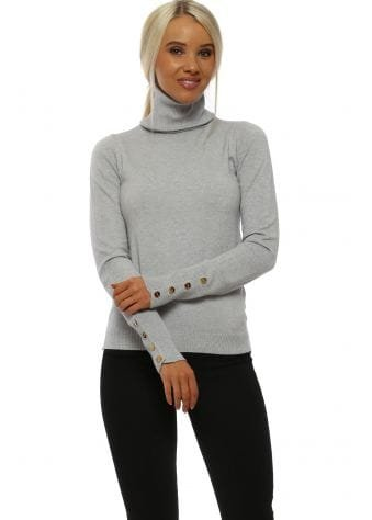 Grey Military Polo Neck Jumper