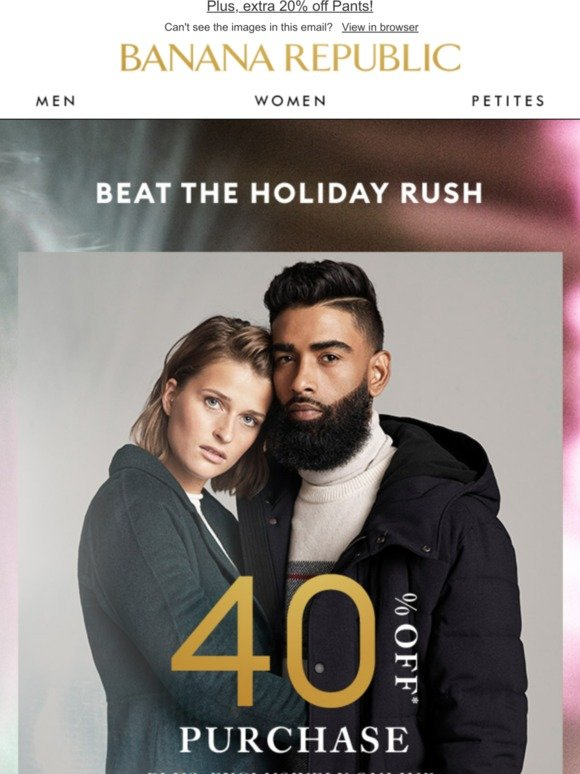 Start your holiday shopping with 40% off