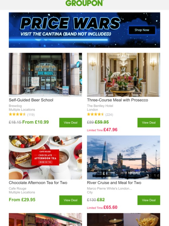 Groupon Uk Limited Time Offer Top Restaurants Dropped