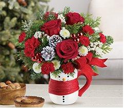Send a Hug Snowman Mug Bouquet By Teleflora