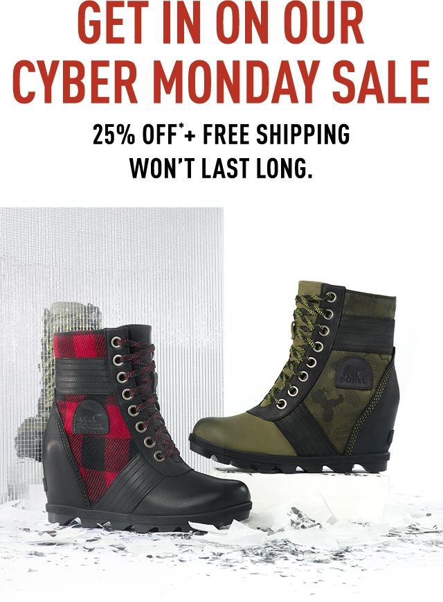 LAST CALL FOR 25 PERCENT OFF, Lexie wedge boots on white backdrop