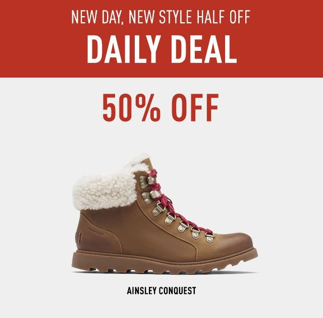 NEW DAY NEW DEAL HALF OFF, DAILY DEAL, 50 PERCENT OFF, Ainsley Conquest boot